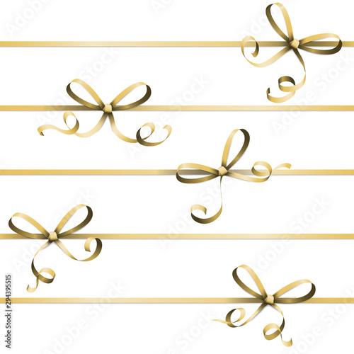golden colored ribbon bow Wallpaper Mural