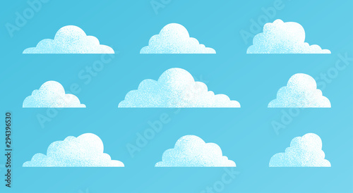 Obraz Clouds set isolated on a blue background. Simple cute cartoon design. Modern icon or logo collection. Realistic elements. Flat style vector illustration. - fototapety do salonu