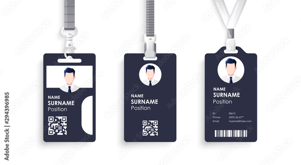 Fototapety, obrazy: Vector id card template with clasp and lanyard. Blue and white color mock up set. Modern colorful icon collection. Employee ID. Simple realistic design. Cute cartoon style. Flat style illustration.