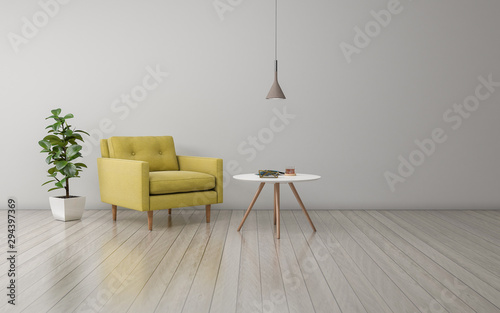 Fotografía  Realistic Mockup of 3D Rendered of Interior of Modern Living Room with Sofa - Co