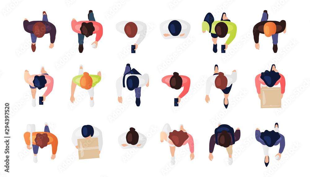 Fototapeta Top view of people set isolated on a white background. Men and women. View from above. Male and female characters. Simple flat cartoon design. Realistic vector illustration.