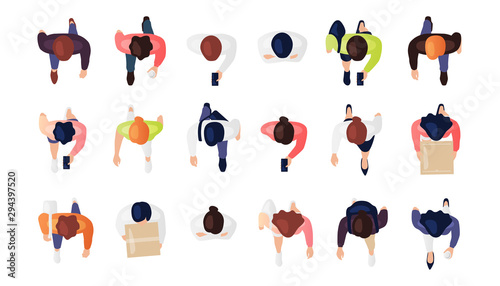 Fototapeta Top view of people set isolated on a white background. Men and women. View from above. Male and female characters. Simple flat cartoon design. Realistic vector illustration. obraz