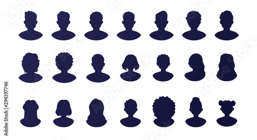 Fotografiet  People silhouette avatars set isolated on a white background