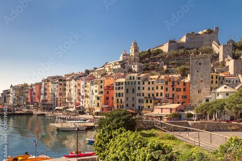 Obraz na plátně  view of town of Porto Venere and fortress of Doria in province of La Spezia on c