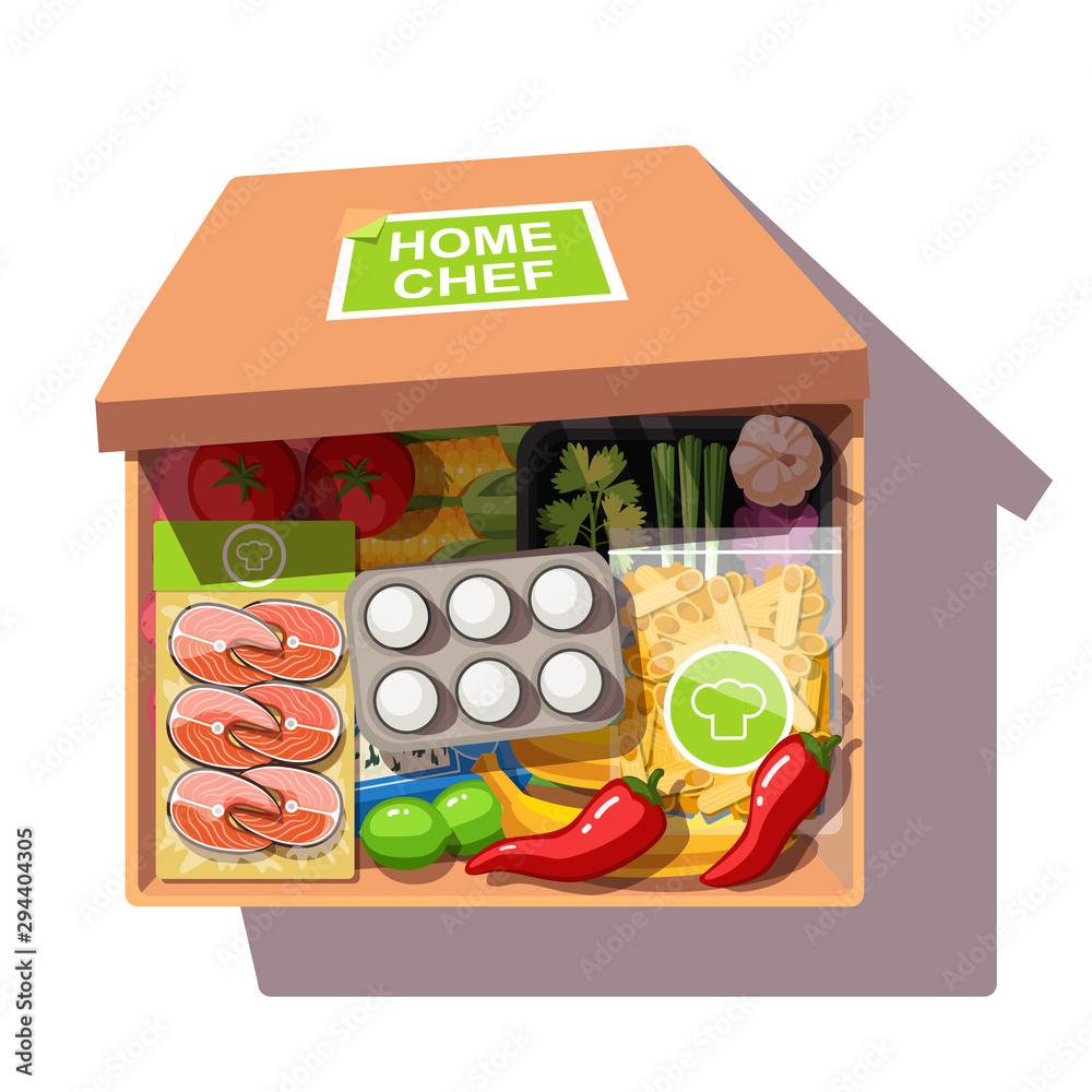 Fototapety, obrazy: Various ingredients meal kit in open cardboard box