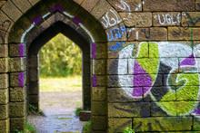 Liverpool Castle Medieval Stone Passageway Graffiti Bolton Manchester England