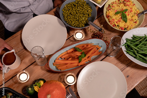Thanksgiving dinner on the table at home