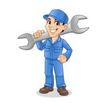 Mechanic Man Holding Huge Wrench For Service, Repair Or Maintenance Mascot Concept Cartoon Character Design, Vector Illustration, In Isolated White Background.