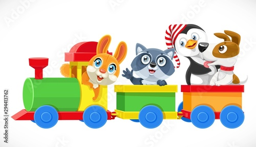 Toy train with soft toys hare, dog, penguin, raccoon ride in wagons  isolated on white background