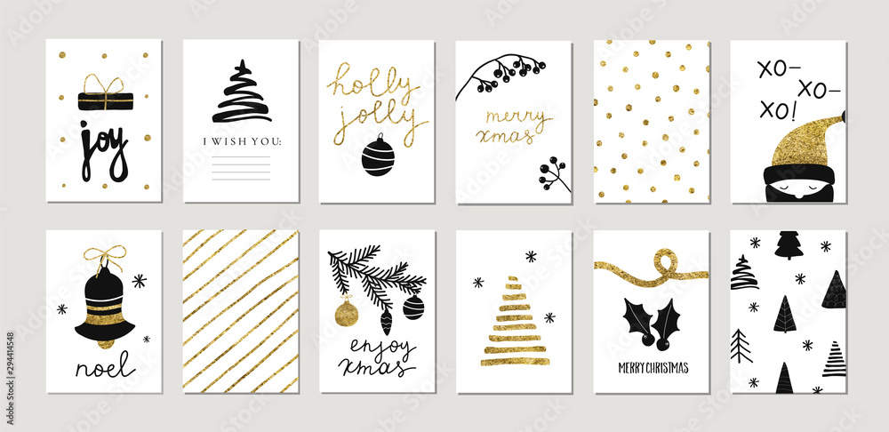 Fototapety, obrazy: Set of christmas new year winter holiday cute greeting cards with gold texture objects. Vector abstract trendy illustration in minimalistic hand drawn flat style