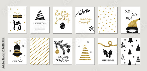 Fototapeta Set of christmas new year winter holiday cute greeting cards with gold texture objects. Vector abstract trendy illustration in minimalistic hand drawn flat style obraz