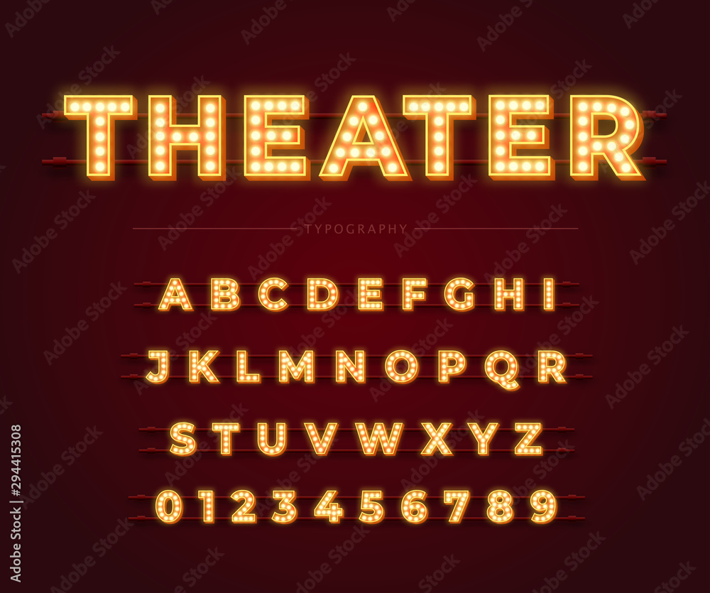 Fototapeta 3d light bulb alphabet with red frame isolated on dark red background. Theater style retro glowing font. Vector illustration.