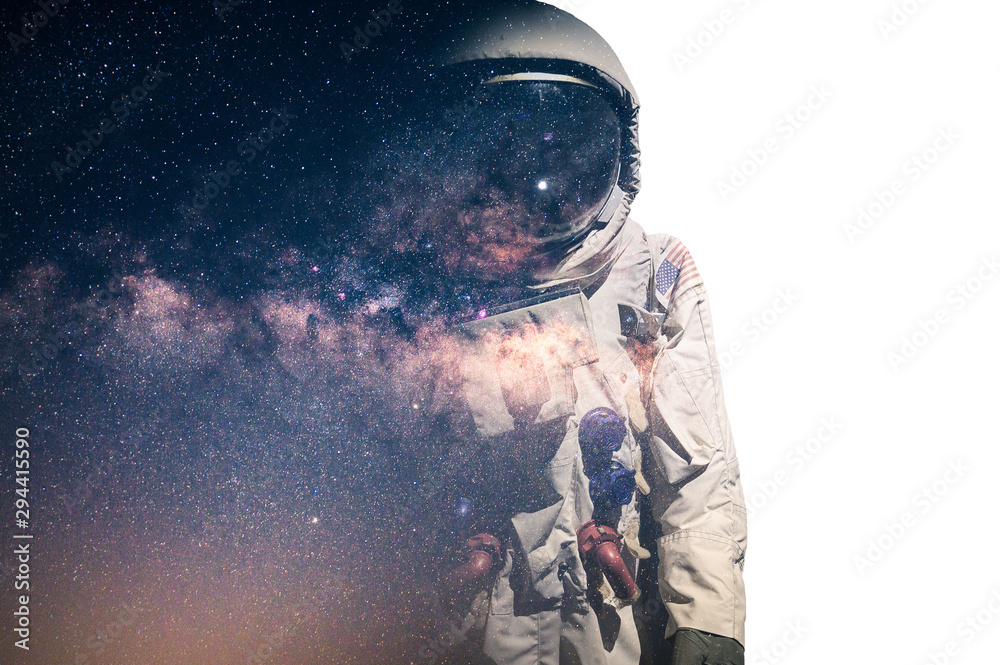 Fototapety, obrazy: The double exposure image of the astronaut's suit overlay with the milky way galaxy image. the concept of imagination, technology, future, and gaming.