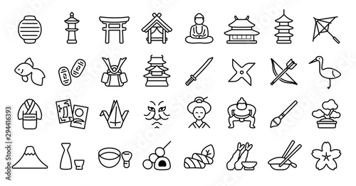 Japanese Traditional Culture Icon Set (Thin Line Version) Wallpaper Mural