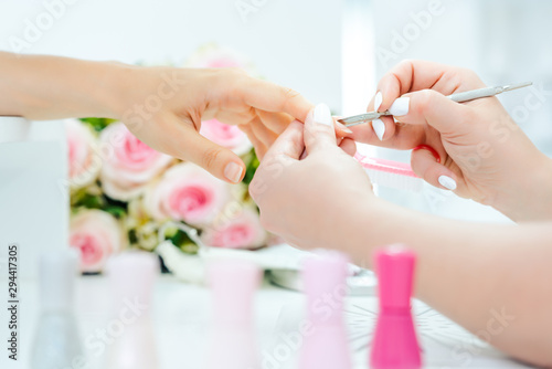 Woman having a manicure