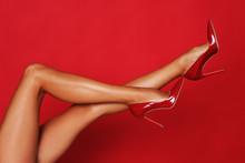 Long, Slim Legs In High Heels.