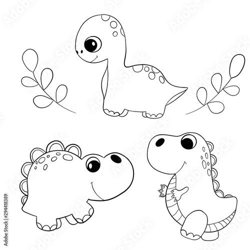 In de dag Cartoon draw Dinosaur coloring book