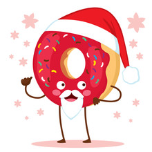 Cute Doughnut Character With C...