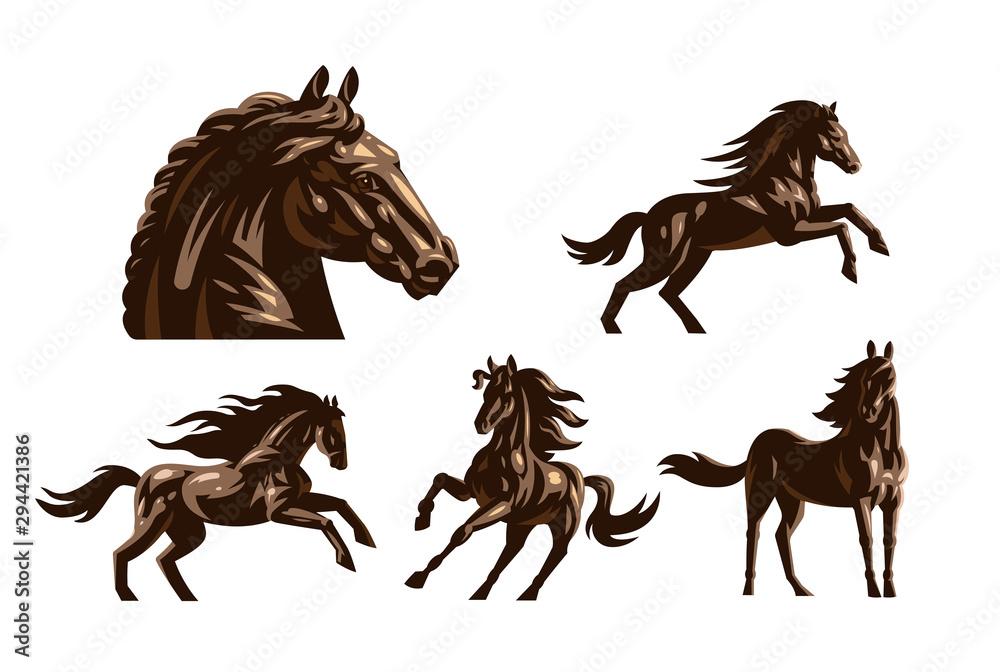 Horse images in classic minimal style. <span>plik: #294421386 | autor: Masterlevsha</span>