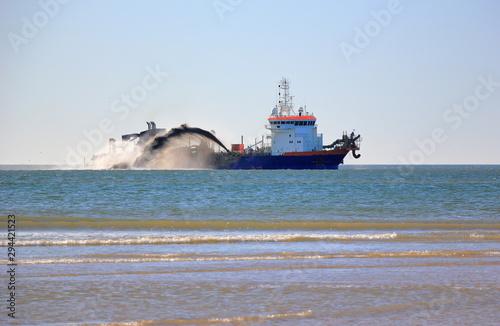 Trailing suction hopper dredger. North Sea, the Netherlands. Tapéta, Fotótapéta