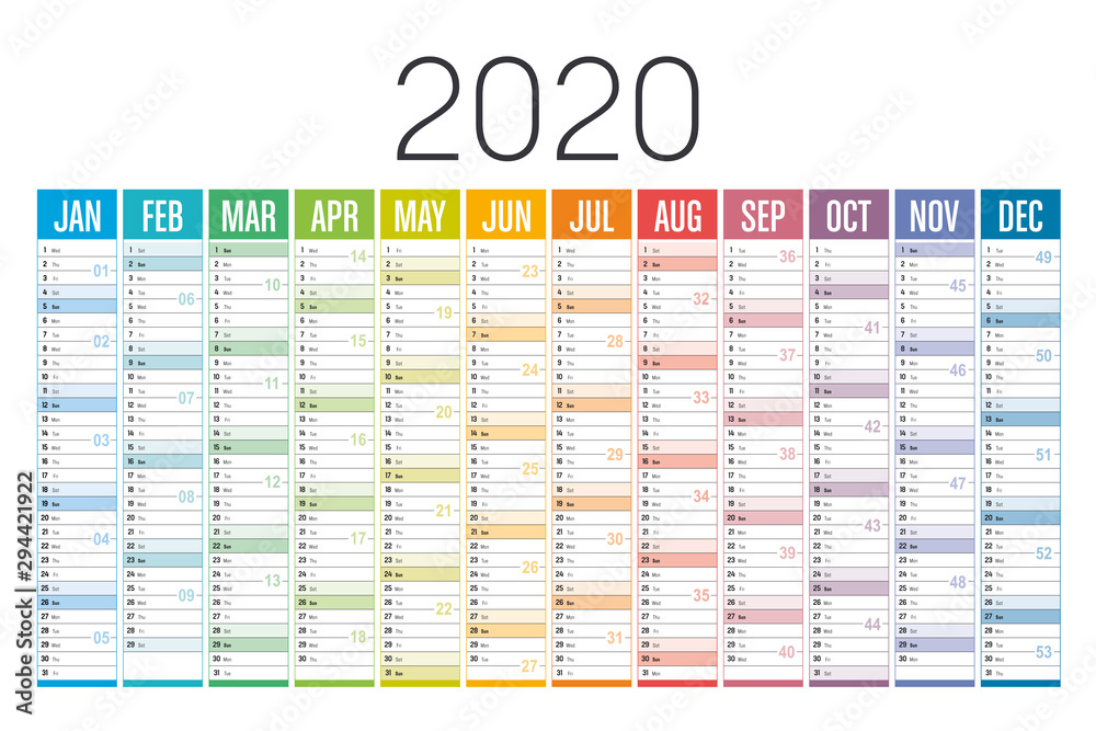 Fototapeta Colorful 2020 horizontal calendar