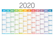 Colorful 2020 Horizontal Calendar