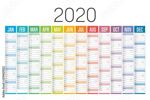 Fotografía  Colorful 2020 horizontal calendar