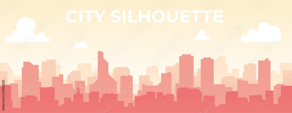 Fototapety, obrazy: Seamless silhouette of the city. Cityscape with buildings. Simple blue background. Urban landscape. Beautiful template. Modern city with layers. Flat style vector illustration.