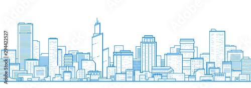 Foto auf AluDibond Weiß Seamless city landscape. Cityscape with buildings. Simple blue background. Urban silhouette. Line art. Beautiful template. Modern city with layers. Flat style vector illustration.