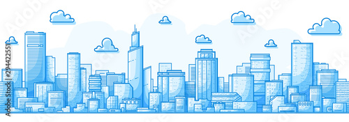 Foto auf Gartenposter Blau Seamless city landscape. Cityscape with buildings. Simple blue background. Urban silhouette. Line art. Beautiful template. Modern city with layers. Flat style vector illustration.