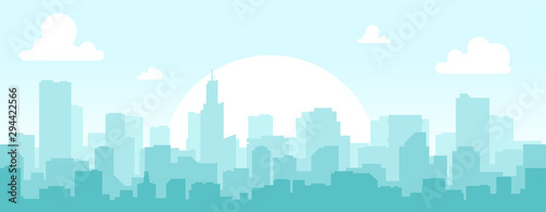 Foto auf AluDibond Licht blau Seamless silhouette of the city. Cityscape with buildings. Simple blue background. Urban landscape. Beautiful template. Modern city with layers. Flat style vector illustration.