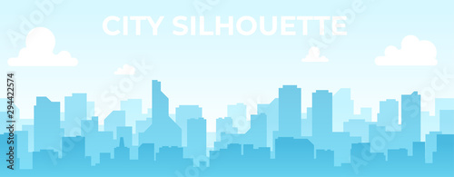 Seamless silhouette of the city. Cityscape with buildings. Simple blue background. Urban landscape. Beautiful template. Modern city with layers. Flat style vector illustration. - 294422574