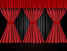 Background With Black And Red Curtain. Design For Presentation, Concert, Show