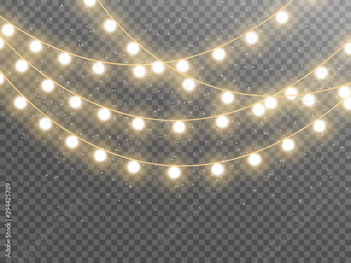 Fototapeta Christmas lights isolated on transparent background. Vector illustration obraz na płótnie