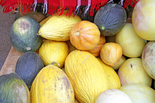 Colorful Ornamental Pumpkins, Gourds And Squashes On A Open Market In The Street. Variety Of Colorful Ornamental Gourds And Pumpkins. Orange Colors For Halloween Holiday. Pumpkin Pattern.