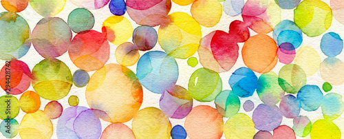 Abstract bubble watercolor brush strokes painted background Canvas Print