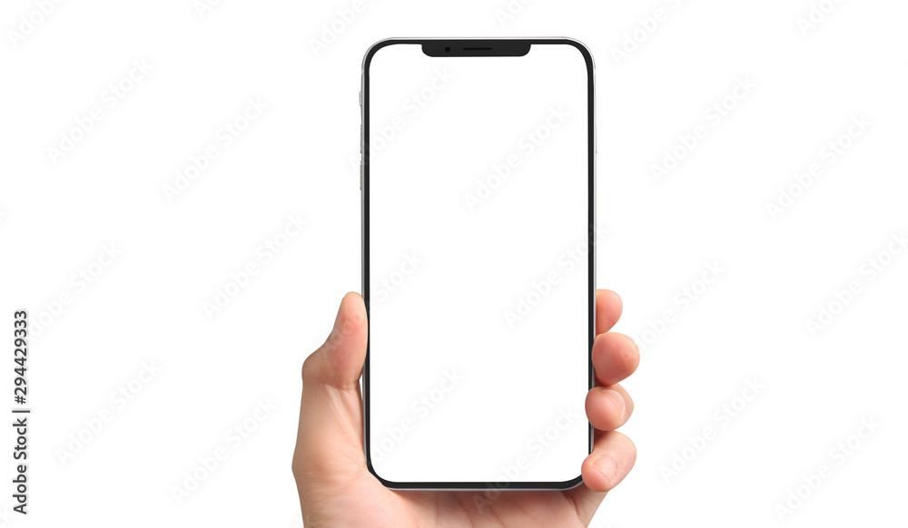 Fototapeta Man hand holding smartphone device touching screen
