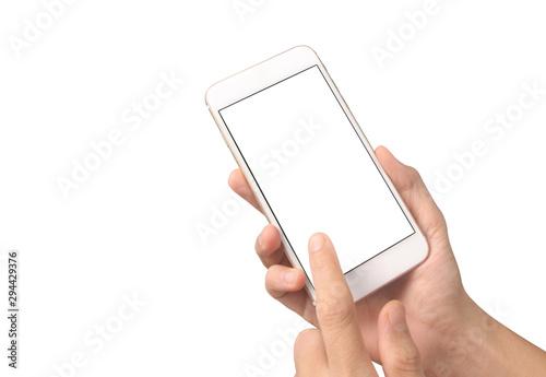 Obraz Man hand holding smartphone device touching screen - fototapety do salonu