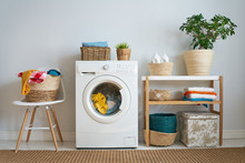 Laundry Room With A Washing Ma...