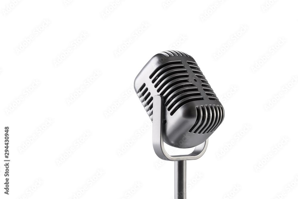 Fototapeta Retro microphone isolated on white background