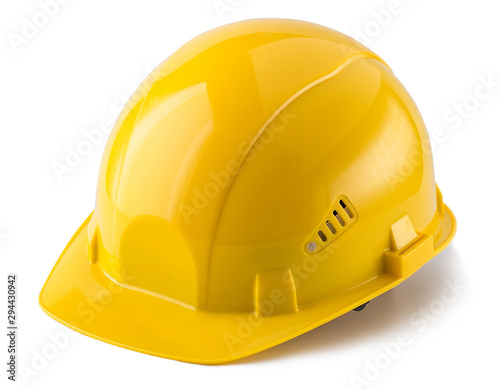 Yellow safety helmet isolated on white background Fototapet