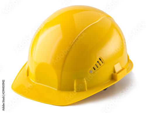 Yellow safety helmet isolated on white background Tapéta, Fotótapéta