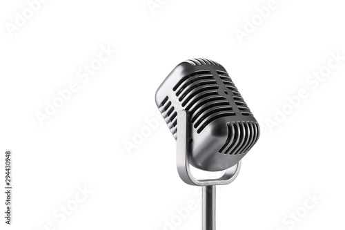 Retro microphone isolated on white background