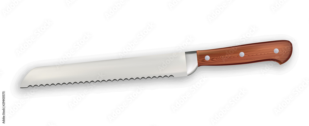 Fototapety, obrazy: Saw Knife Metallic Professional Kitchenware Vector. Stainless Knife With Wooden Handle Domestic Dangerous Blade With Sawteeth Instrument. Elegant Accessory Template Realistic 3d Illustration