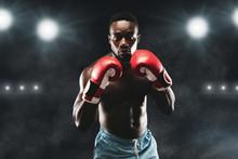 Confident Black Boxer Standing...