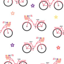 Vector Pink Bicycle Pattern. B...
