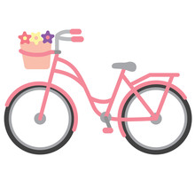 Pink Bicycle. Bike With A Basket. Vector Illustration.