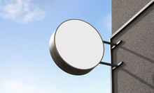 Blank White Outdoor Round Box Mockup Wall Mounted, Sky Background