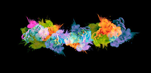 Acrylic colors in water. Ink blot.  Abstract black background.