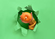 canvas print picture - Neo mint paper flat lay with ripped hole in the middle and hand showing pumpkin